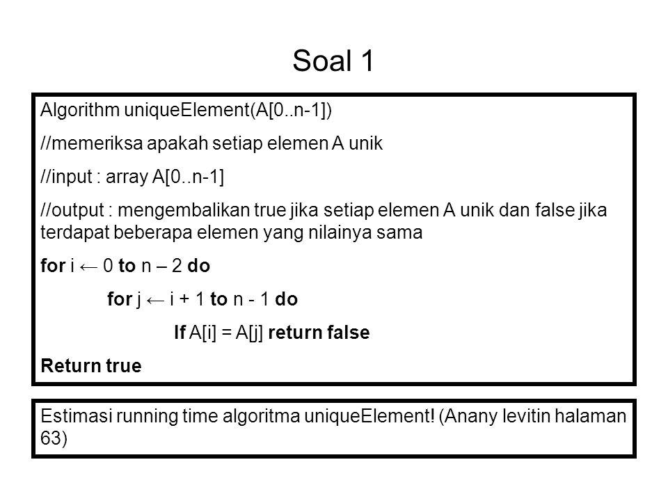 Soal 1 Algorithm uniqueElement(A[0..n-1])